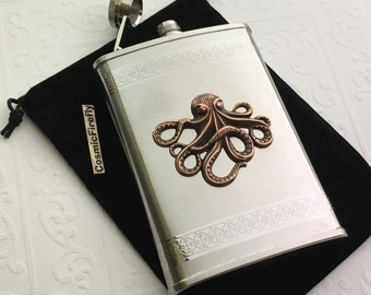 Big Octopus Flask Nautical Steampunk Style Stainless Steel With Raised Antiqued Copper Octopus Gothic Victorian Design Mixed Metals 8 ounces