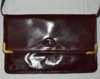 Vintage BALLY real leather women bag burgundy Made in Italy