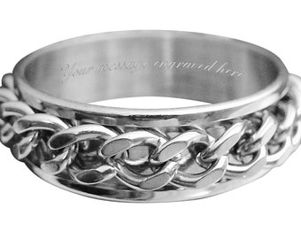 Men's engraved personalised ring size L M N O P Q R S T U V W + gift box -ref TQ