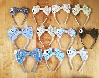 READY TO SHIP Lolita bow headbow plaid gingham print floral japanese fabric headband head band alice headdress handmade accessory