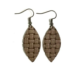 Medium Leather Earrings; Leather Earrings; Leather Leaf Earrings; Brown Leather Earrings; Lightweight Earrings; Statement Earrings