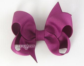 Aubergine Hair Bow - Baby Toddler Girl - Solid Color Magenta 3 Inch Boutique Bow on Alligator Clip Barrette