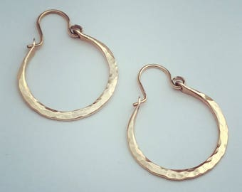 Gold Hoops * Yellow or Rose Gold Hoop Earrings * Hammered Sleeper Earring * 1 Inch Pink Gold Hoops * Sturdy Pretty Practical * Gift for Her