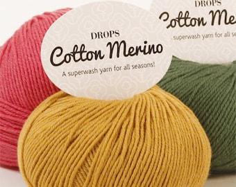 DROPS Cotton Merino Yarn / Cotton Yarn / Merino Yarn / Hand Knit Yarn / Crochet Yarn / Oeko-Tex® certificate Yarn / Yarn 50 g - 1.8 oz