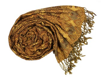 Sienna Brown Pashmina Ultra Smooth Cashmere Feel Soft Shawl Style Wrap IN5