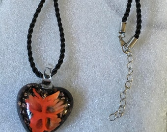 Crystal Glass Pendant with a Twist satin necklace