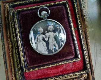 Antique French Photo Locket, Marie Antoinette and King Louis, offered by RusticGypsyCreations