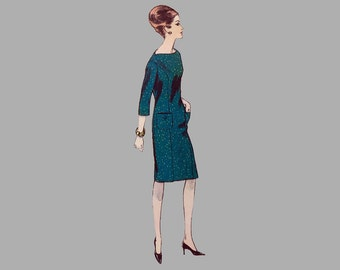"""1963 One Piece Dress Pattern, Vogue 6062, """"Easy to Make"""" Bust 34, High waist, Princes seaming, Oval neck, 3 quarter sleeve or sleeveless"""
