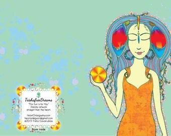 Dreamy Artwork Highlighting Beautiful Women Greeting Cards