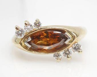 Mid-Century  Fancy Color Marquis Diamond  Ring