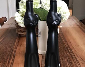 "2 Matte Black Happy Cat German Rheinhessen Reisling Glass Wine Bottles 13"""