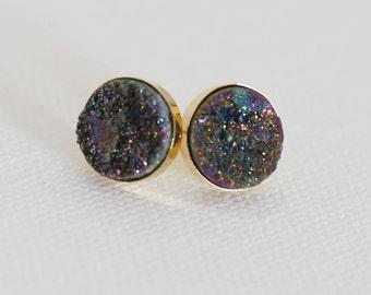 Druzy Studs - Rainbow, Natural Druzy Stud Earrings, druzy quartz, gemstone studs, post, bridesmaid gift, under 40, small, glitter, jewelry