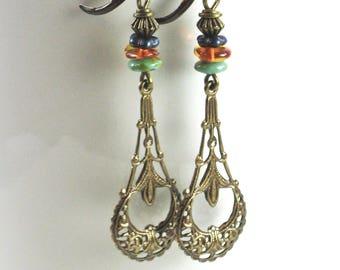 Boho Earrings - Filigree Earrings, Drop Earrings, Brass Earrings
