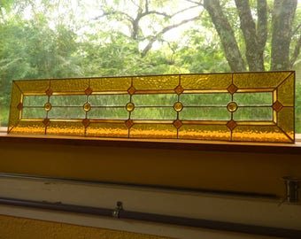 Stained Glass Sidelight or Transom - Vintage Style Sidelights - Amber