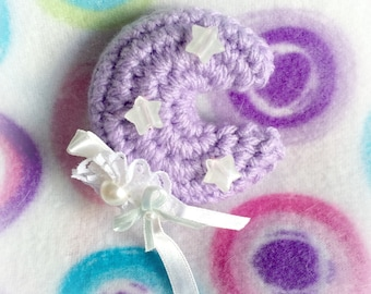 Purple Amigurumi Moon Lolita Hair Clip