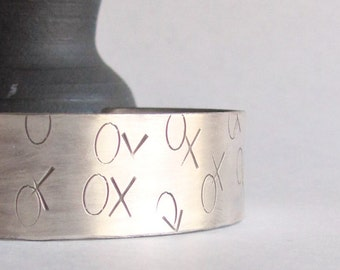Hand Stamped Sterling Silver Cuff - Hugs and Kisses - Mother's Day Gift - Graduation Gift - 25th Anniversary Gift -