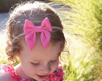 Sailor Bow Headband or Clip, Baby Girl Headband, Newborn Headband, Baby Girl Bow, Toddler Headband,  Hair Clips for Girls, Pink Headband