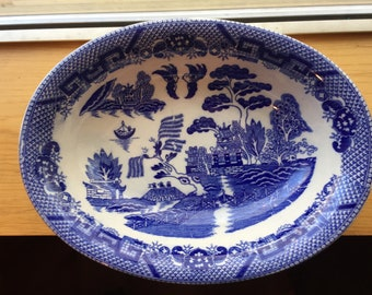 Blue Willow Oval platter japan.