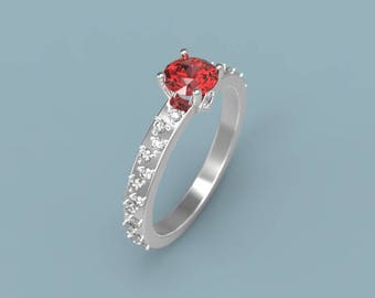 White Gold Ruby Engagement Ring Ruby Ring White Gold Engagement Ring Ruby Diamond Gold Ring