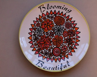 Hand painted Decorative plate - size 10 inches in diameter- Blooming Beautiful- dinner plate -Ceramic plate - wall art - art on a plate.