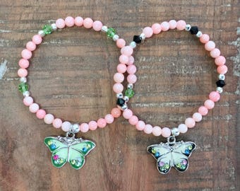 Girl's Bracelet and Earring Set/Butterfly Charm/Girls Beaded Stretch Bracelet/Gift/Gift for Girl/Birthday/Christmas