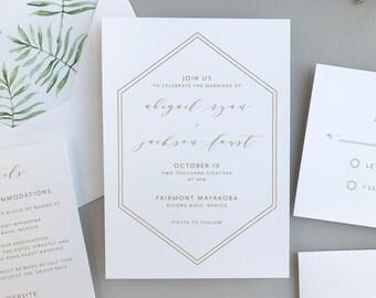 Hexagon Wedding Invitation Sample / Tropical Paradise Envelope Liner / Letterpress or Digital Printing / Modern Invitation Suite / #1146