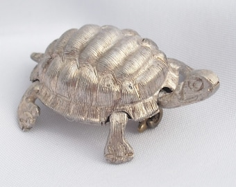 Vintage Sterling Silver Articulated Turtle Brooch Hallmarked MEXICO 925 Brushed Silver Pin