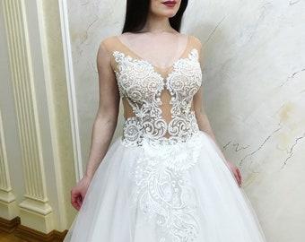 Beach Wedding Dress,  wedding dress, Bohemian wedding dress, Boho wedding dress,unique wedding dress, open back bridal gown