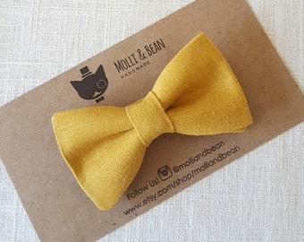 Boys Mustard BowTie, Men's Mustard BowTie, Groomsmen Mustard BowTie, Ring Bearer Mustard Bow Tie, Easter BowTie