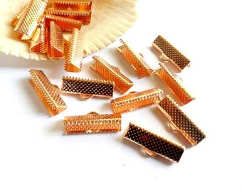 10 Rose Gold Plated Crimp Ribbon End Caps - 20mm - 20A-2