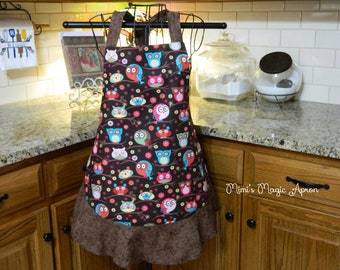 Ladies Full Apron, Owls Apron, Woman's full Apron / Retro Style / Full Designer Kitchen Apron / Vintage Apron