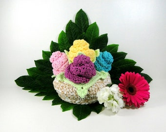 Flower Gift Basket Crochet Pattern #312 - Basket Crochet Pattern - Dishcloth Crochet Pattern - Coaster Crochet Pattern -Instant Download PDF