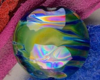 "Handmade Lampwork Beads ""Space Storm"" SRA Glass Focal Bead Lentil ~ OOAK Organic Silver Glass Lustre ~ Woodland Tones"