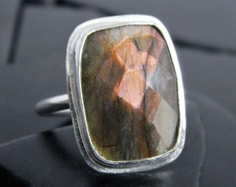 Orange Flash Labradorite and Sterling Silver Ring, Ready to Ship Ring, Rectangular Stone, Checkerboard Cut, Statement Ring, Gift for Her