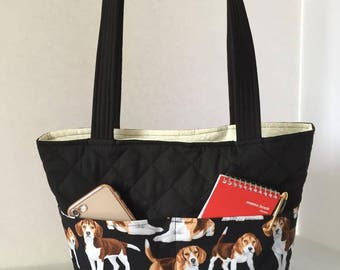 Beagle Bag Quilted with Magnetic Snap, Beagle Handbag, Beagle Tote, Outside Pockets, Inside Pockets