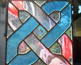 Celtic Knot, 7.5 x 7.5 inches, of Pink & Turquoise Stained Glass, Suncatcher