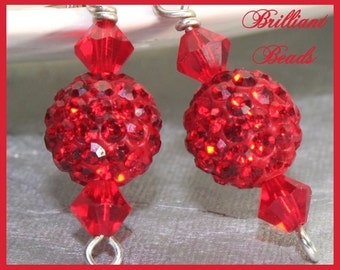 Sparkly Red Pave, Swarovski Siam Red Crystal & Sterling Silver Holiday Earrings SRAJD