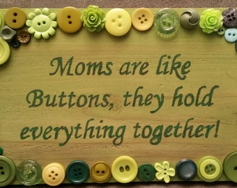 Button art. Mothers day. Mothers day gift. Unique gift. One of a kind. Handmade. Free shipping. in US. Custom. Any color. ButtonArtByCarol.