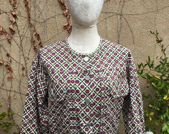 Vintage 1980s light geometric pattern cropped jacket by Esprit size S