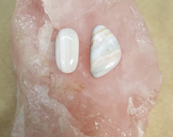 White Marble Freeform Oval Cabochons/ backed