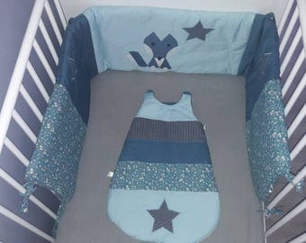 "All size bed and sleeping bag ""Wolf and stars"", colors and fully customizable designs"