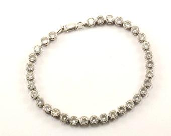 Vintage Round Crystal Tennis Bracelet Sterling Silver BR 2429
