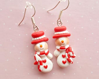 Christmas Earrings - Snowmen Earrings - Red Snowmen Earrings - Christmas Gift - Christmas Jewelry - Holiday Gifts - Secret Santa Gift