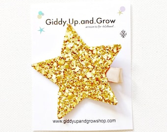 Felt Hair Clip Glitter Star, Hair Bows for girls, giddyupandgrow