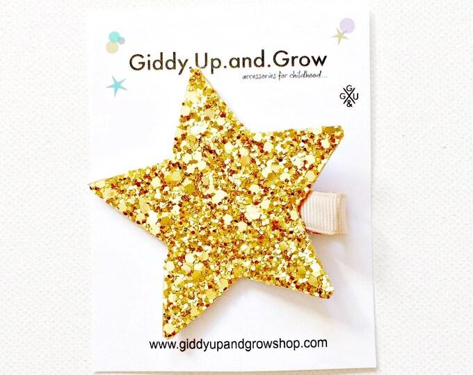 Felt Hair Clip Glitter Star, Hair Bows for girls, giddyupandgrow