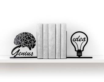 Book end Genius idea bookend Brain art Geometric decor Light bulb Book shelf decor Girl boss Office decor Modern Bright idea - black