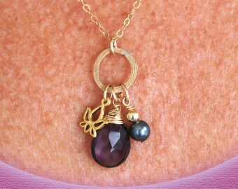 Gold Amethyst necklace   Amethyst Gold necklace   Gold Lotus necklace   Amethyst Gold pendant   Yoga necklace   Lotus Flower necklace gold