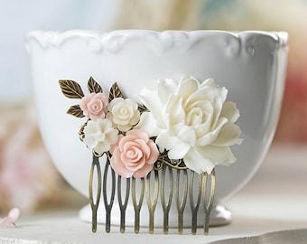 Blush Pink Wedding Hair Comb Soft Pink  White Ivory Rose Flower Bridal Hair Comb Country Wedding Cottage Wedding Vintage Wedding Hairpiece