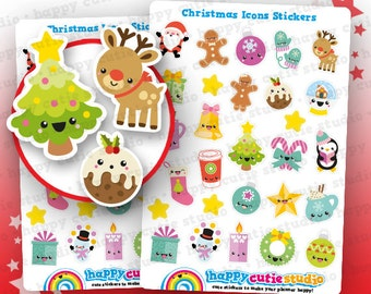 24 Cute Christmas Icons/Festive/Holidays Planner Stickers, Filofax, Erin Condren, Happy Planner,  Kawaii, Cute Sticker, UK