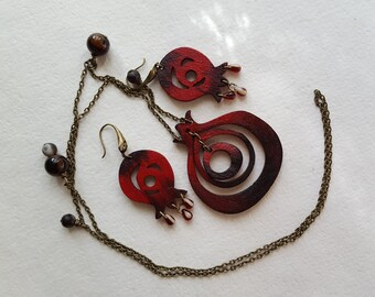 Red Pomegranate Jewellery Set. hand-painted and eco friendly. necklace and earrings with natural stones and czech, glass drops